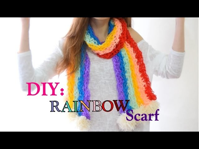 DIY Rainbow Scarf | Finger Knitting | How to gift