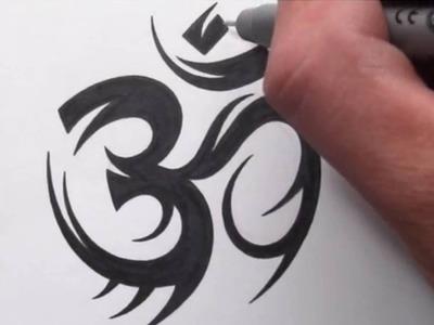 How To Draw a Tribal Om Symbol Tattoo Design