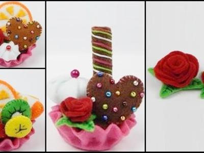 How to make a felt tartlet. cupcake  - part  3 - felt flower DIY (tutorial + free pattern)