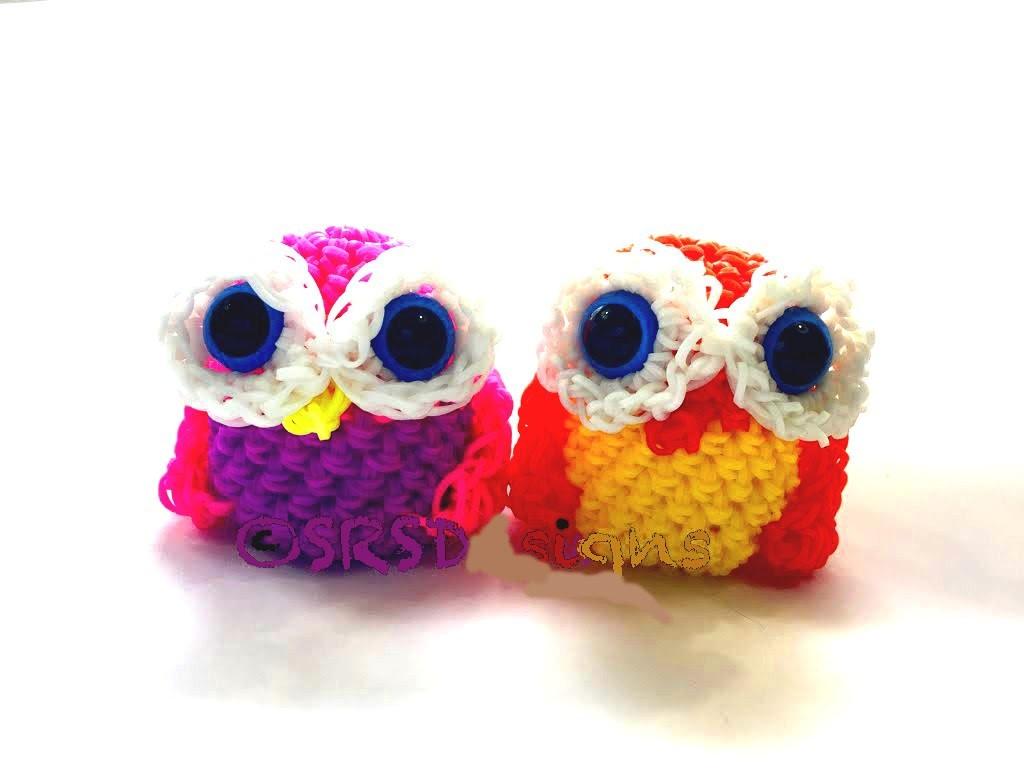 Amigurumi Owl Beak : How to Make DIY (Amigurumi) 3D Owl from Rainbow Loom. Hook ...