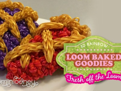 Old Fashioned Cherry and Blueberry Lattice Crust Pie Slices: 3D Rainbow Loom Baked Goodies