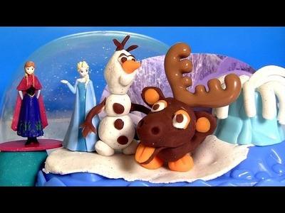 Play Doh Sparkle Snow Dome Disney FROZEN Olaf Sven Elsa Anna - Play Doh Brillante Globo de Nieve