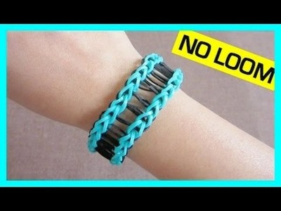 Railroad Rainbow Loom Bracelet without Loom. using 2 Forks