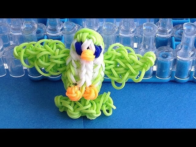 Rainbow Loom Charms 3D Bird loom bands Charm: How to make with loom. bands