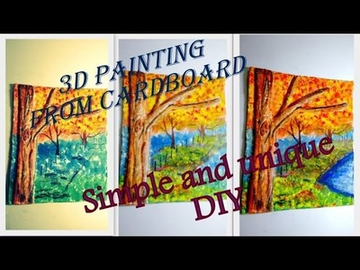 3D painting on cardboard: DIY  just using cheap household items (Redefine craft) 2015