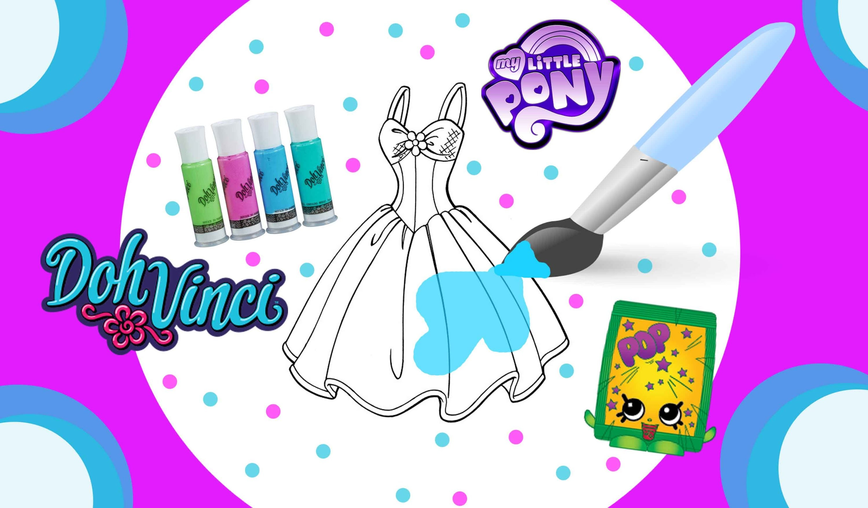 Color Your Own Fashionista DIY Using DohVinci PlayDoh Glitter & Paint Plus Shopkins MLP Toy Surprise