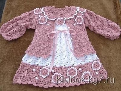 Crochet dress| How to crochet an easy shell stitch baby. girl's dress for beginners 23
