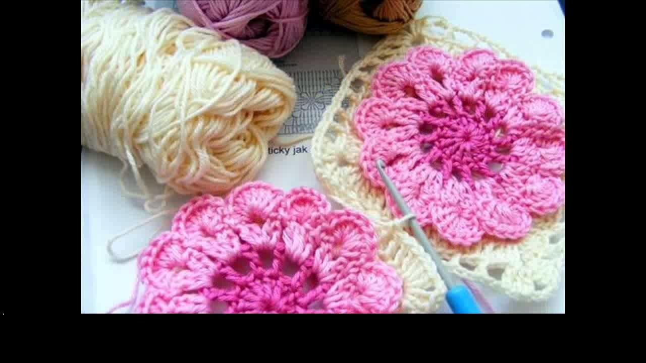 Crochet flower dishcloth