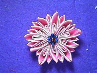 DIY-cara membuat bunga teratai dari pita satin-how to make a lotus flower on satin ribbon