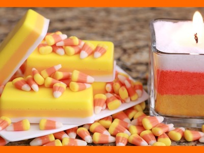 DIY HALLOWEEN CANDY CORN CANDLE + CANDY CORN SOAP!
