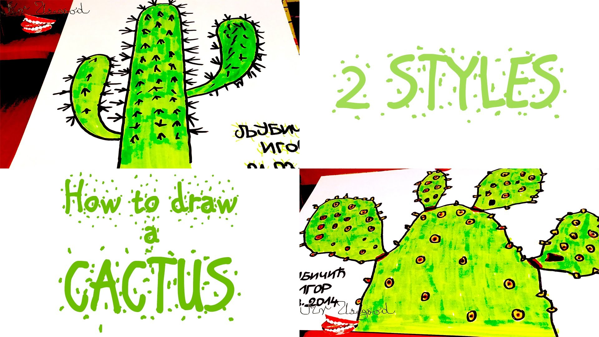 Diy How To Draw A Cactus Step By Step Easy 2 Simple Cartoon Cactus