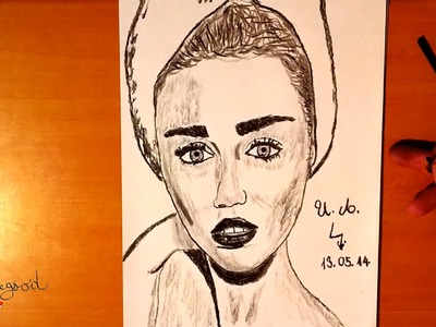 DIY How to draw MILEY CYRUS Easy 3d Realistic portrait, draw easy stuff but cool 3D | SPEEDY