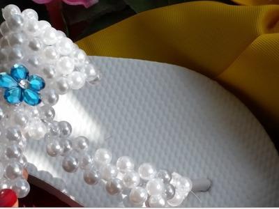 {DIY} Pearl Bow Flip Flops