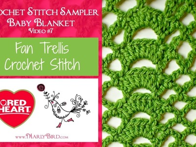 Fan Trellis Stitch (Crochet Stitch Sampler Baby Blanket Video #7)
