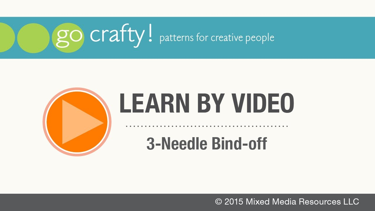 How to 3-Needle Bind-off: Go-Crafty