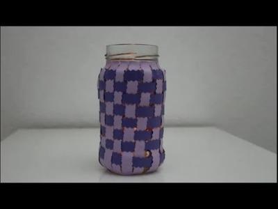 DIY: Windlicht aus gewebtem Papier. Tealight Holder Lantern out of weaved paper
