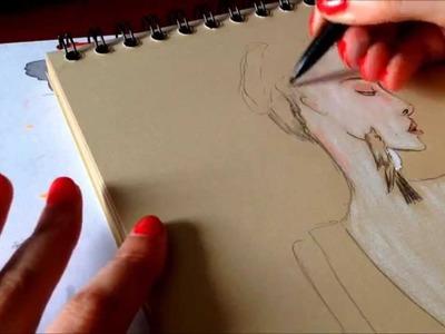 Fashion illustration Tutorial. How to draw  on Kraft paper