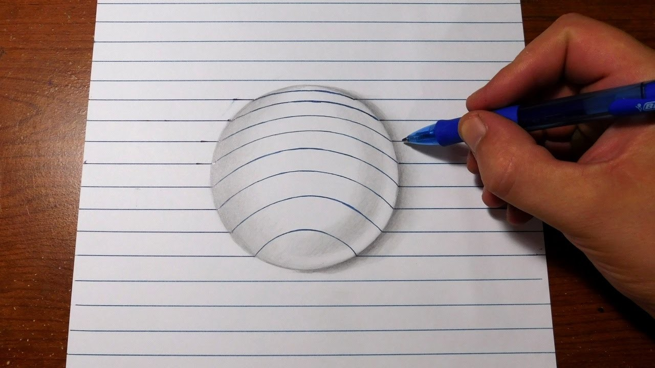 How to Draw 3D Art - Easy Line Paper Trick