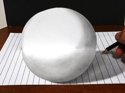 How to Draw 3D Ball - Cool Line Paper Trick Art