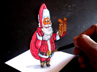 How To Draw Santa Claus. Anamorphic Illusion. 3D Art on paper.
