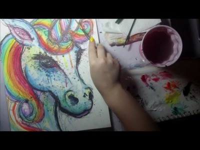 Painting a Rainbow Unicorn With Acrylic Paint on Watercolor Paper