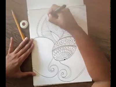 Pen Doodle Drawings, Henna art on Paper, a timelapse video