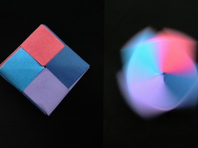 "Action Fun Toy Origami -  Paper ""Modular Square Tiled Spinning Top"" - Very Easy!!"