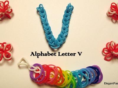 Alphabet Letter V Charm on Rainbow Loom
