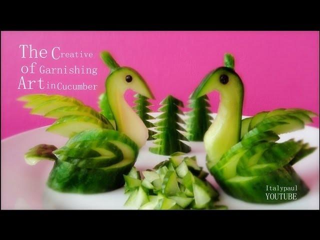 Art In Cucumber Swans - Fruit Vegetable Carving Garnish | Cucumber Sushi Garnish