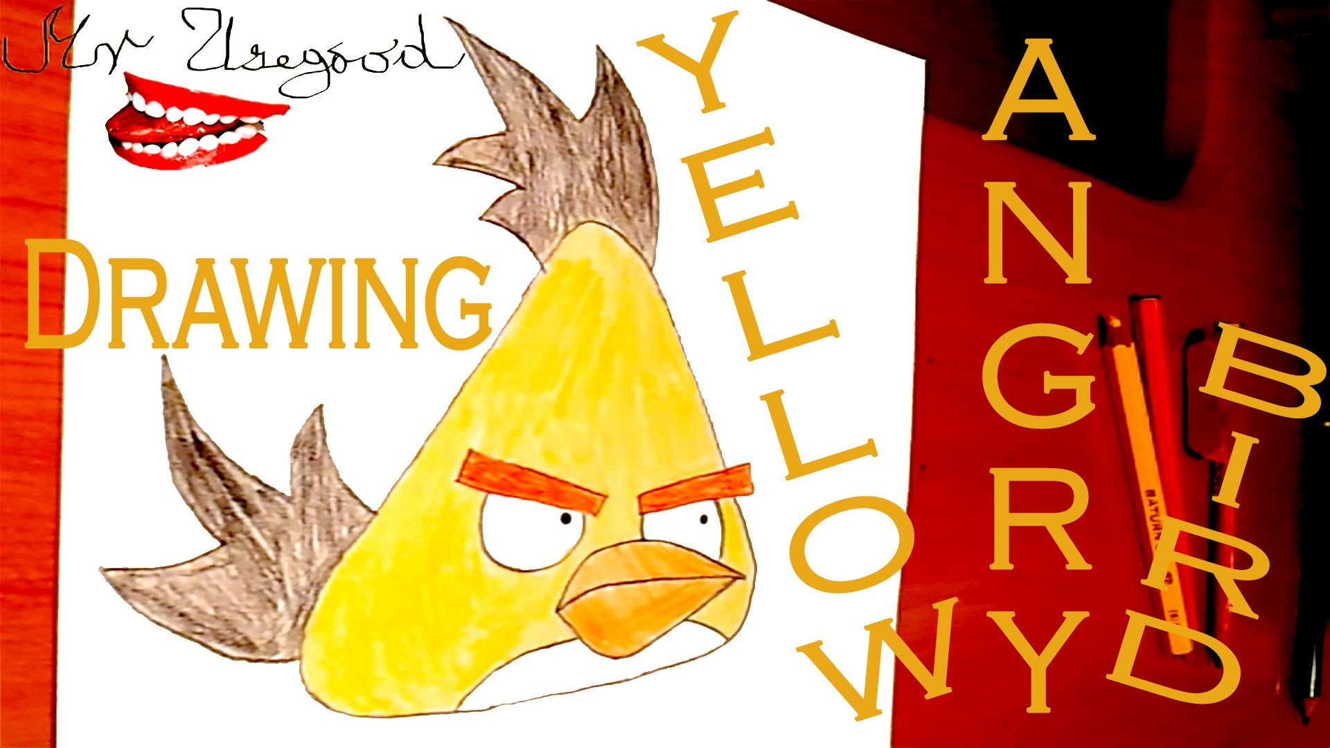 DIY How to draw Angry Birds Easy YELLOW BIRD | draw easy stuff.things but cool on paper | SPEED ART