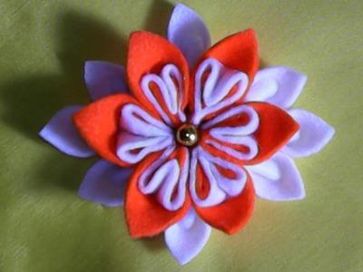DIY,how to make a flower out of flannel,cara membuat bunga dari kain flanel
