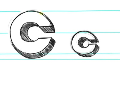 How to draw 3D Letters C - Uppercase C and Lowercase c in 90 seconds