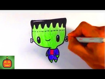 How to Draw a Cute Frankenstein - Halloween Drawings