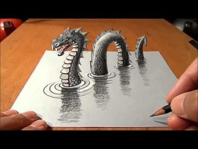 How to draw lake monster in 3d illusion on paper