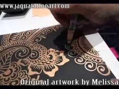 Mehndi Design (Gold ink on Black paper)