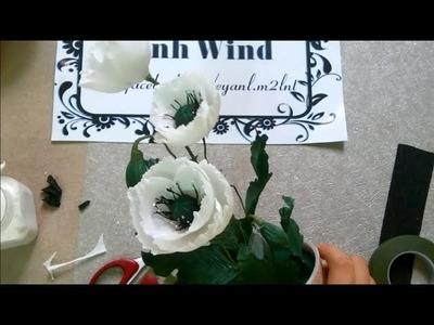 Poppy paper flower - Làm hoa anh túc giấy nhún
