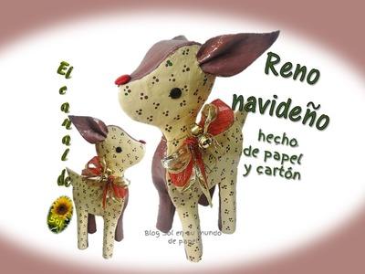 Reno navideño hecho de papel y cartón - Christmas reindeer made of paper and cardboard
