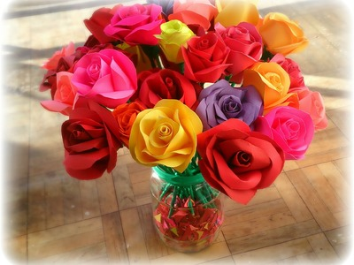 Buchet de trandafiri din hartie colorata! how to make roses from paper ?