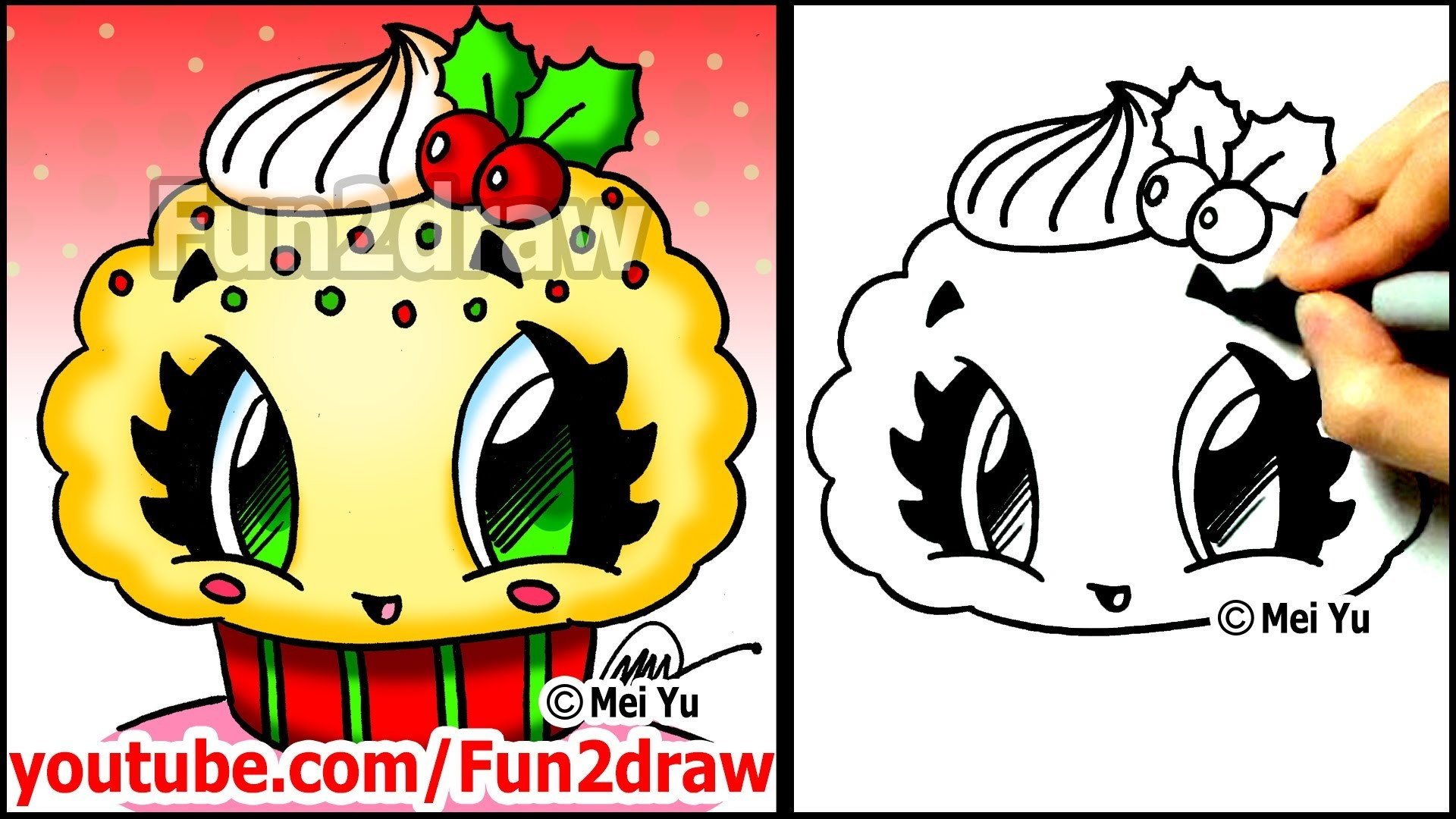 How To Draw A Christmas Cupcake With