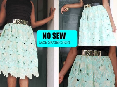 DIY: || NO SEW || LACE SKATER SKIRT IN LESS THAN 5 MINUTES