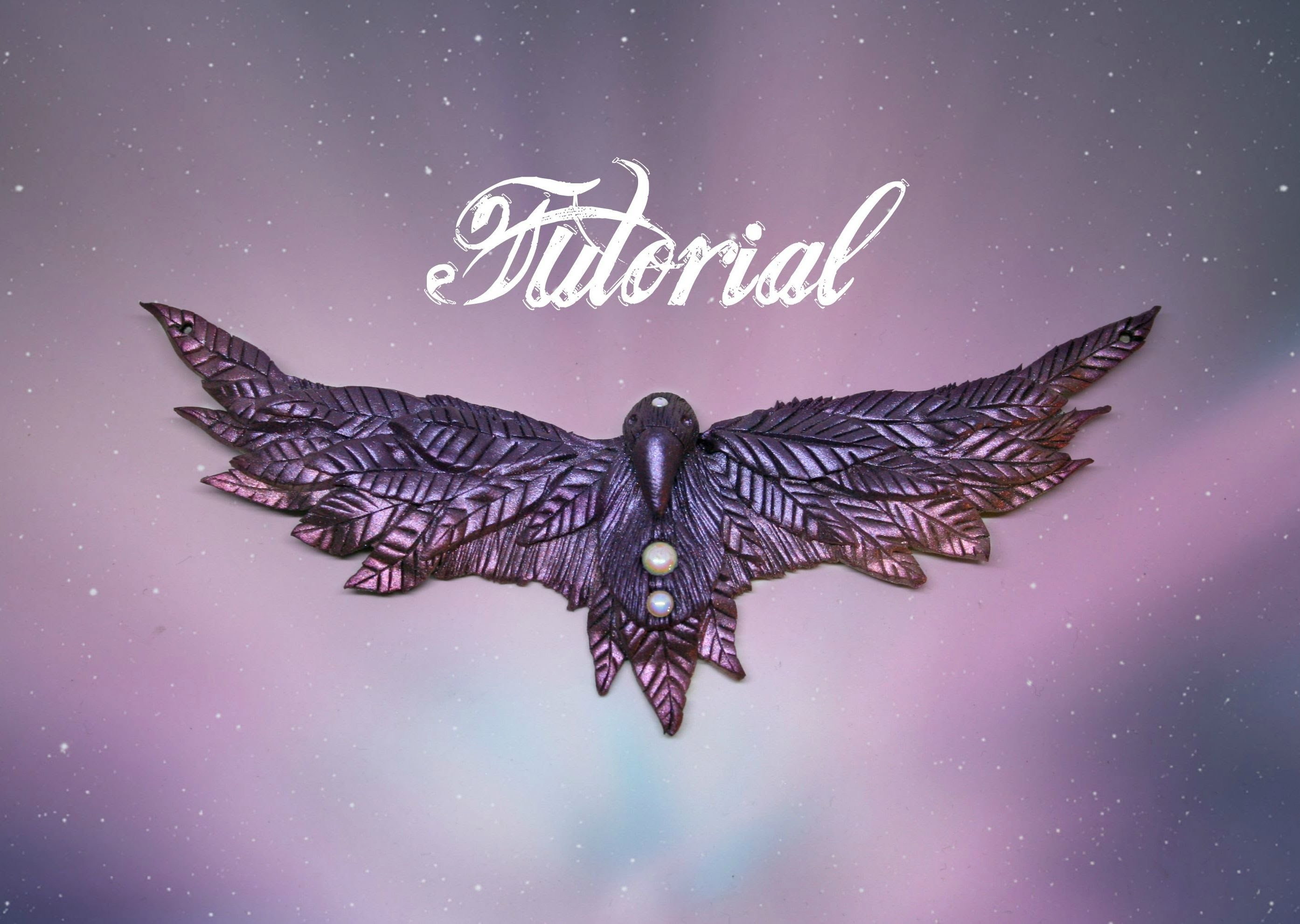Fantasy Raven Polymer Clay Tutorial   Purple & Pink Mica Powder DIY Necklace   Velvetorium