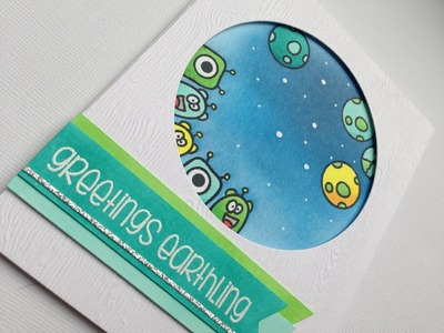 Greetings earthling, card tutorial With The Alley Way Stamps