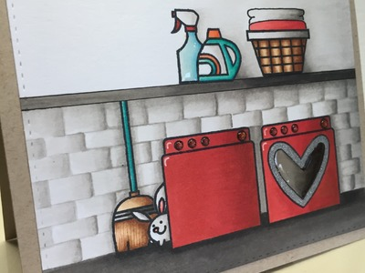Laundry Room Card Using Copics and Paper Smooches