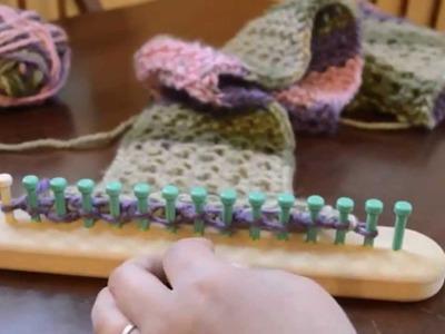 Loom Knit Eyelet Stitch Scarf Part 1