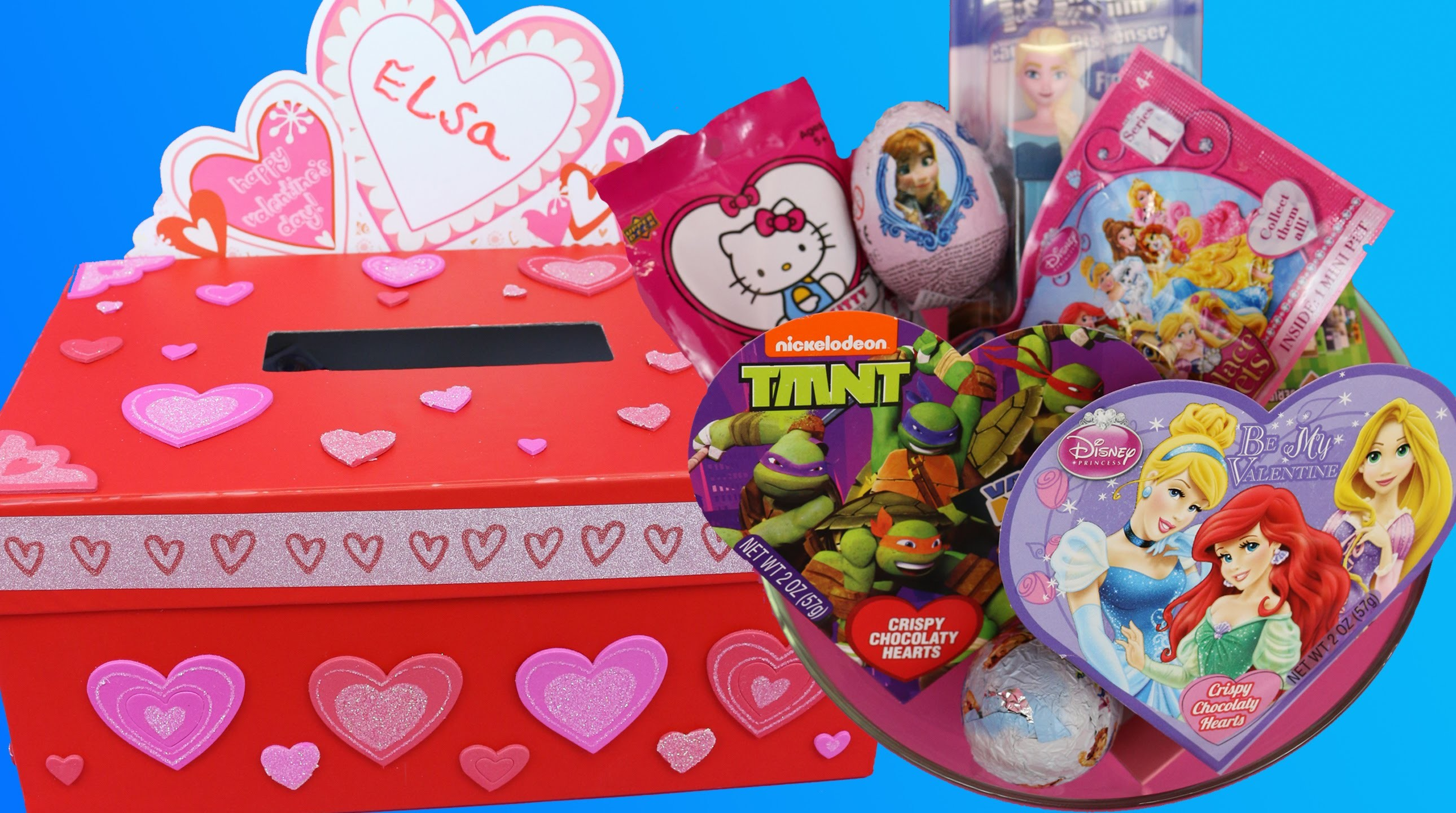 VALENTINE'S DAY Surprise Toys ❤ DIY Valentine Mail Box ❤ Kinder Eggs Blind Bags Frozen Disney Egg