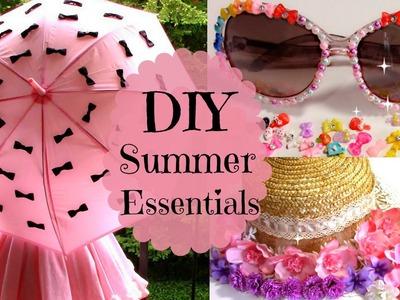 3 DIYs.Ideas Summer Essentials   Parasol + Sunglasses + Floral Straw Hat (Easy)