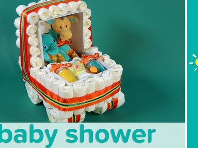 Baby Shower Ideas: Stroller Diaper Cake with Stuffed Animals | Pampers