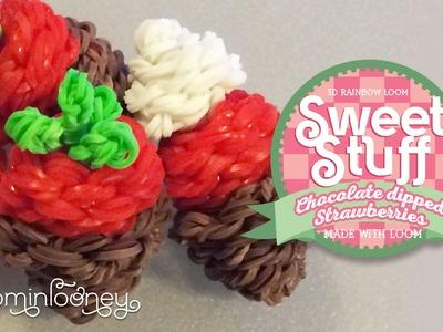 Chocolate Dipped Strawberries: 3D Rainbow Loom Sweet Stuff