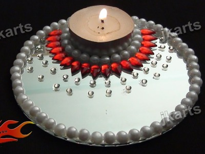 DIY  Candle Holder  with Mirror and Kundan -  JK Arts 196