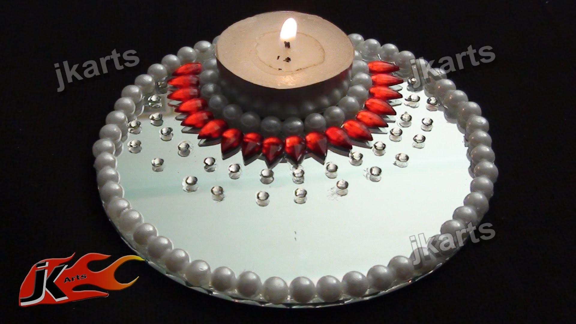 DIY  Candle Holder  with Mirror and Kundan -  JK Arts 196